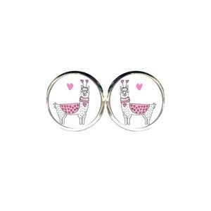 Pink Heart Llama Earrings